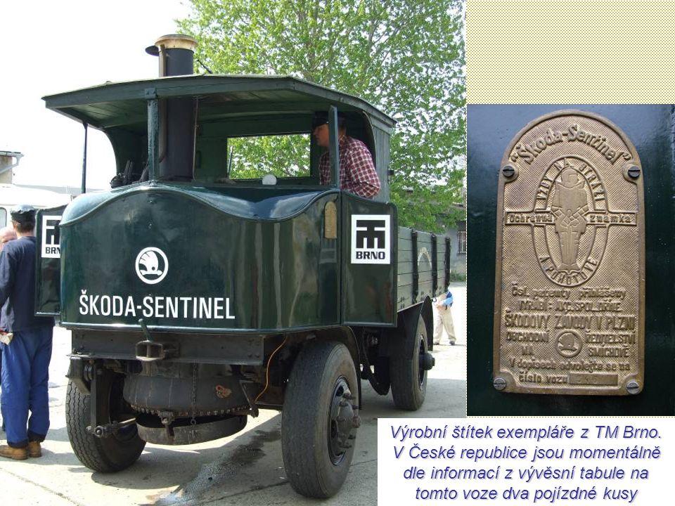 Škoda-Sentinel (1924-1935) – Parní dříč Optimální rychlost byla 15 - 25 km/h. Při maximálním tlaku se rozjel rychlostí až 35 km/h. Palivo si mohl vozi