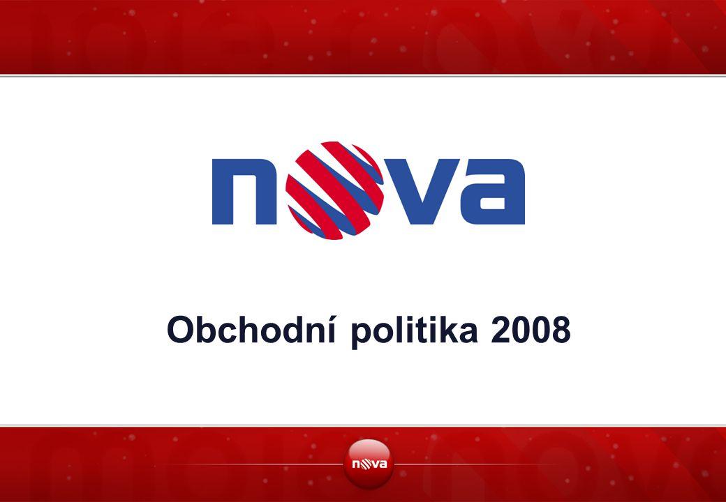 """2 Základní údaje  Prodejní cílovou skupinou TV Nova v roce 2008 jsou """"Dospělí 15-54 """"Dospělí 15-54 znamená osoby ve věku 15 až 54, žijící v České republice  TV NOVA bude používat v roce 2008 dvě základní časová pásma Prime time a OFF Prime time Prime Time (PT) znamená denní časové pásmo mezi 18:00 and 23:00 v rámci týdne OFF Prime Time (OPT) znamená denní časové pásmo mezi 23:00 and 18:00 v rámci týdne  TV NOVA bude používat v roce 2008 tři časové období High Season, Medium Season a Low Season High Season (HS) znamená měsíce s největší poptávkou po reklamním prostoru ze stran inzerentů: duben, květen, říjen, listopad Medium Season (MS) znamená měsíce s průměrnou poptávkou po reklamním prostoru ze stran inzerentů: březen, červen, září, prosinec Low Season (LS) znamená měsíce s nízkou poptávkou po reklamním prostoru ze stran inzerentů: leden, únor, červenec, srpen"""