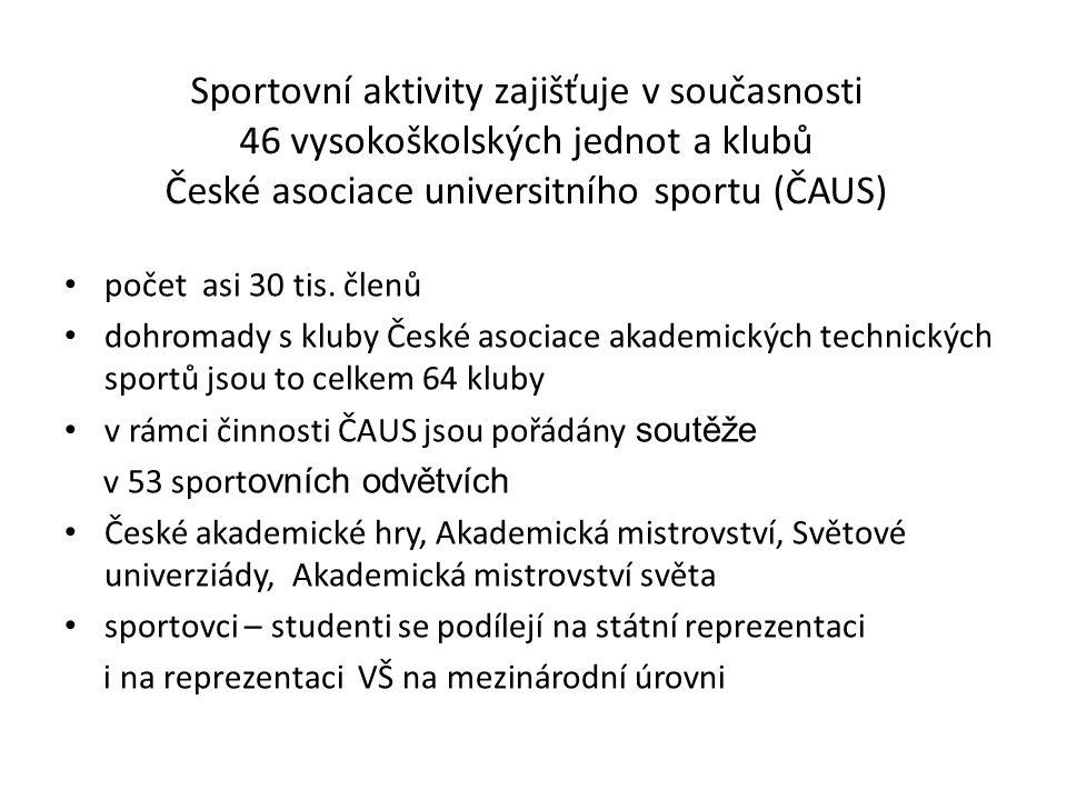 Sportovní aktivity zajišťuje v současnosti 46 vysokoškolských jednot a klubů České asociace universitního sportu (ČAUS) počet asi 30 tis. členů dohrom