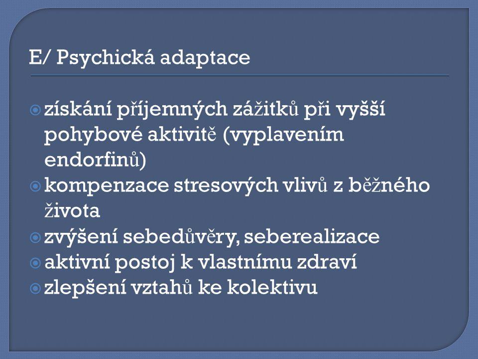 E/ Psychická adaptace  získání p ř íjemných zá ž itk ů p ř i vyšší pohybové aktivit ě (vyplavením endorfin ů )  kompenzace stresových vliv ů z b ěž