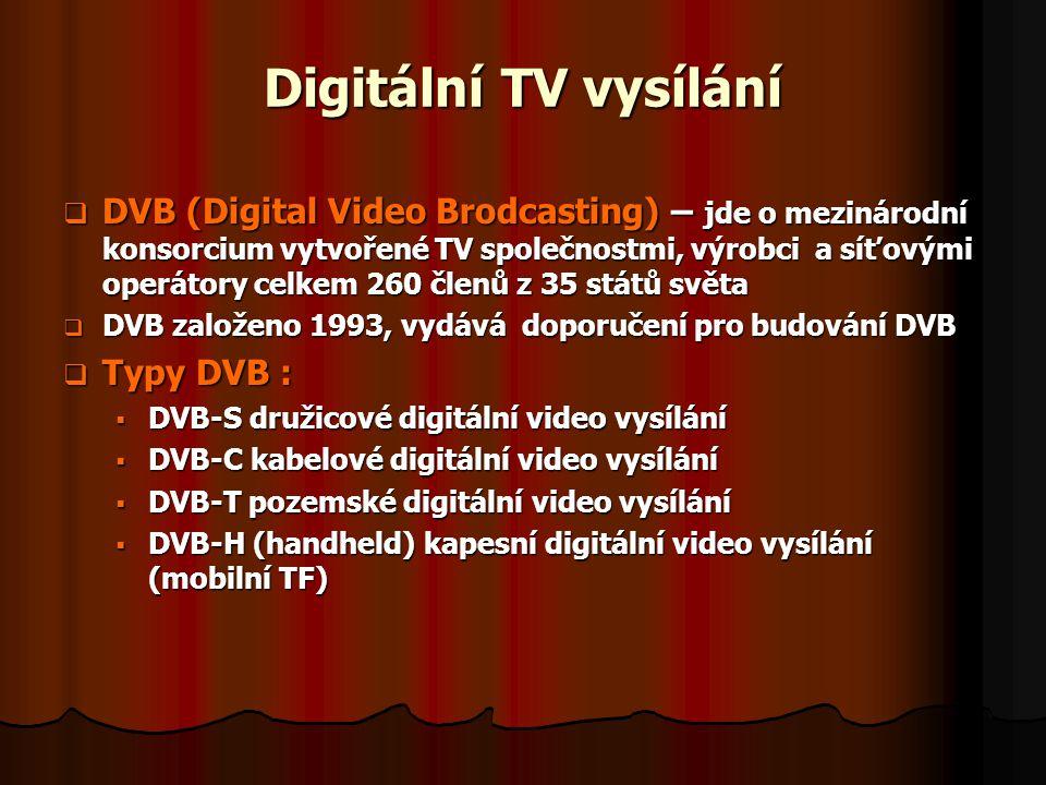 Digitální TV vysílání  DVB (Digital Video Brodcasting) – jde o mezinárodní konsorcium vytvořené TV společnostmi, výrobci a síťovými operátory celkem