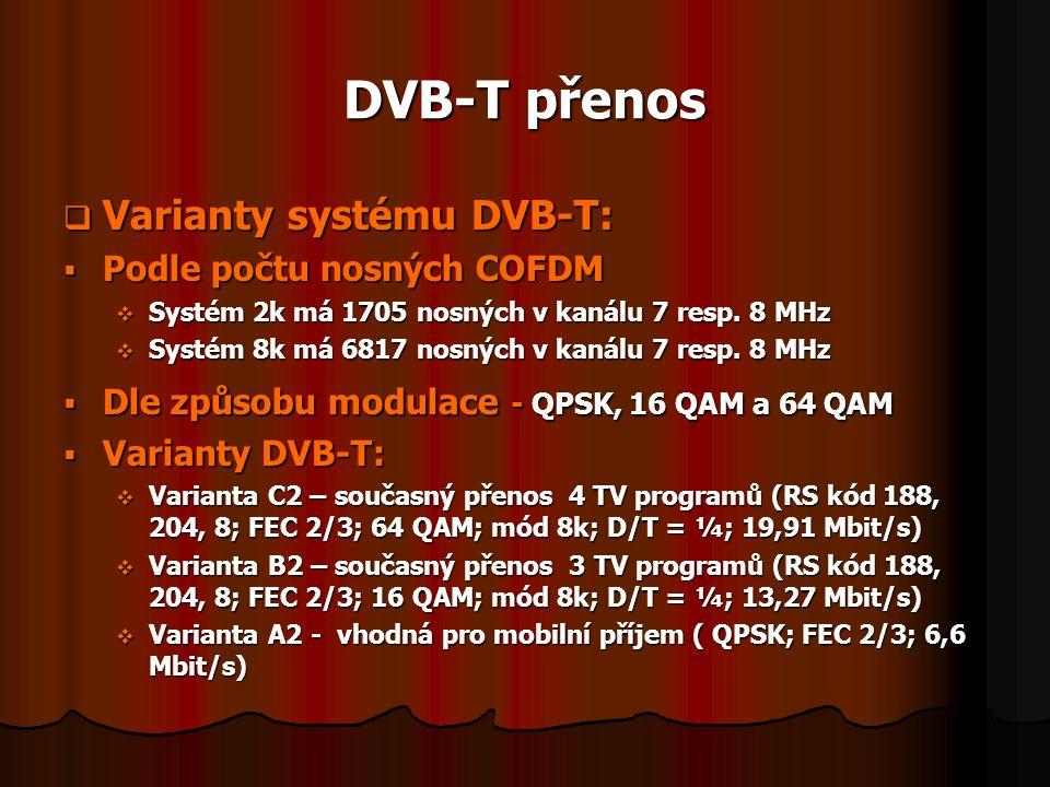 DVB-T přenos  Varianty systému DVB-T:  Podle počtu nosných COFDM  Systém 2k má 1705 nosných v kanálu 7 resp. 8 MHz  Systém 8k má 6817 nosných v ka