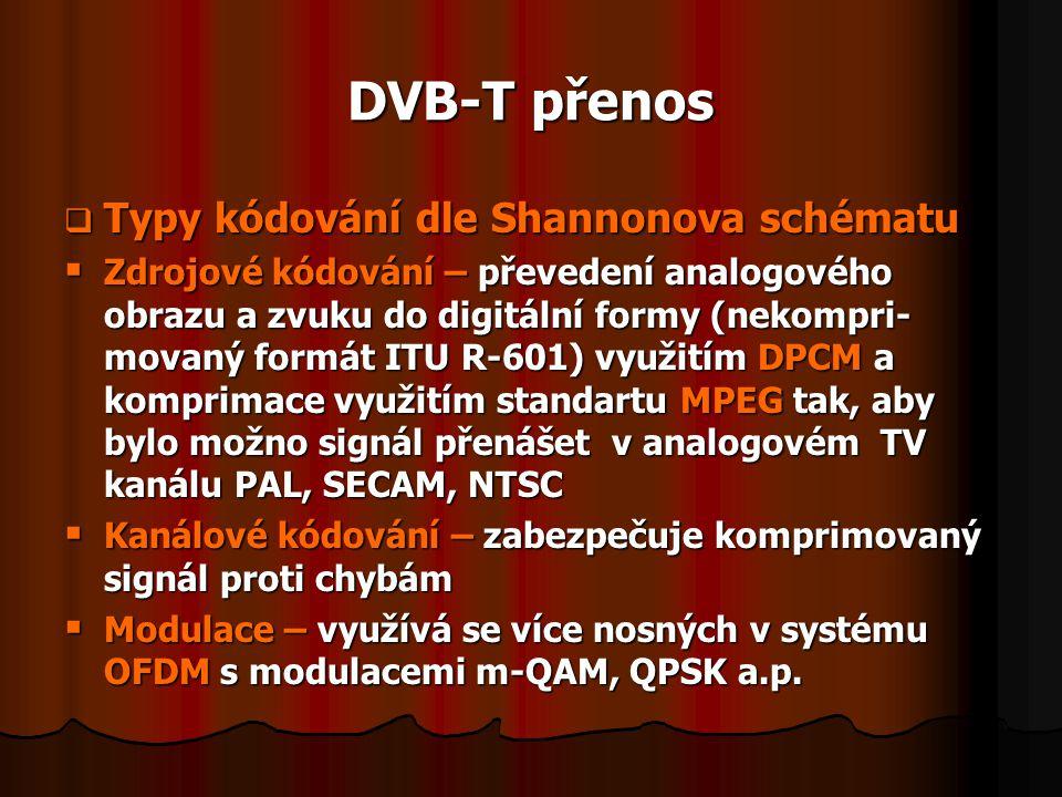 DVB-T přenos  Typy kódování dle Shannonova schématu  Zdrojové kódování – převedení analogového obrazu a zvuku do digitální formy (nekompri- movaný f