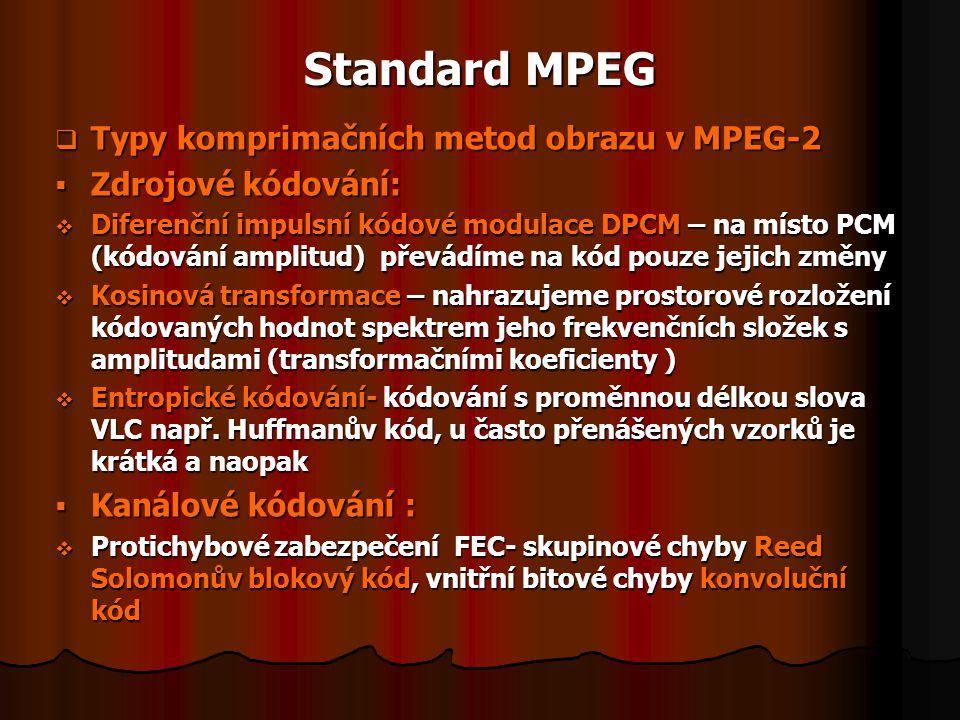 Standard MPEG  Typy komprimačních metod obrazu v MPEG-2  Zdrojové kódování:  Diferenční impulsní kódové modulace DPCM – na místo PCM (kódování ampl
