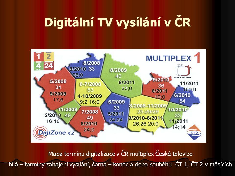 Standart MPEG  Využitá zvuková kódování ve standartu MPEG  Základní kódování pro DVB-T je MPEG-1, vrstva 1 a 2  Nová využívaná kódování MPEG-4 dle H.264, AAC (Advance Audio Coding), MP3 (MPEG-1, vrstva 3)  Zvukový signál PCM používá vzorkování 48 kHz s 16 bitovým kódováním celkem 768 kb/s  Dynamická změna intervalu kvantizačních stupňů Q pro snížení bitové rychlosti v závislosti na síle signálu až na 200 kb/s.