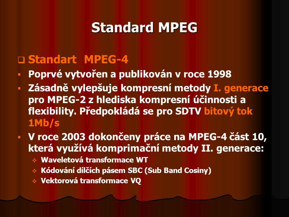 Standard MPEG   Standart MPEG-4   Poprvé vytvořen a publikován v roce 1998   Zásadně vylepšuje kompresní metody I. generace pro MPEG-2 z hledisk