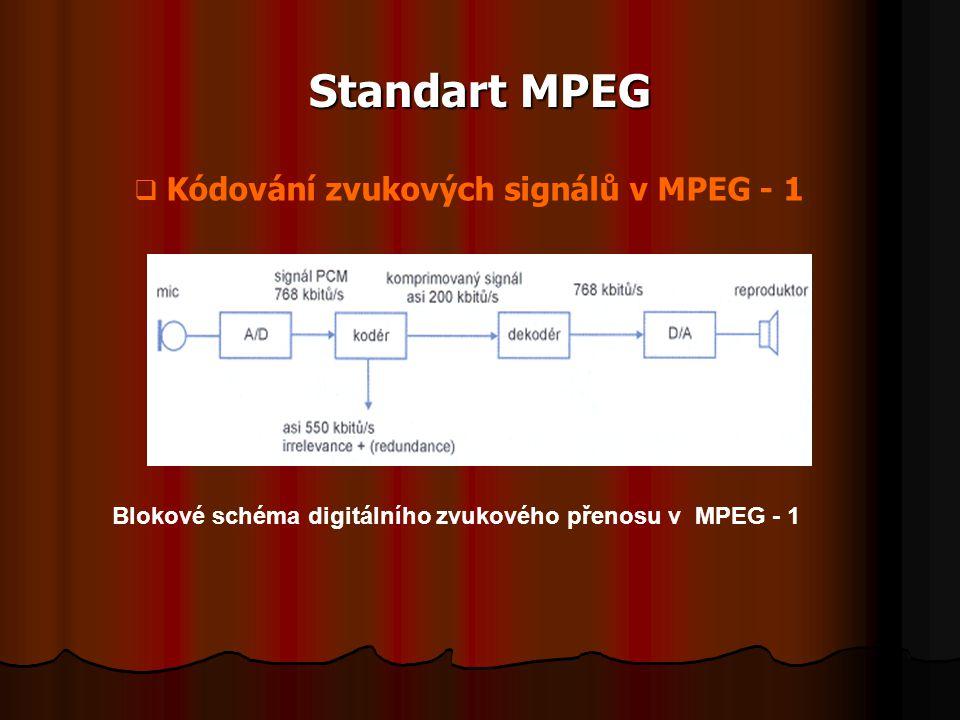 Standart MPEG Blokové schéma digitálního zvukového přenosu v MPEG - 1  Kódování zvukových signálů v MPEG - 1