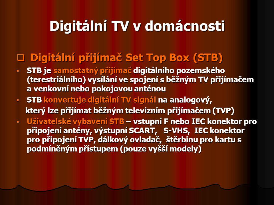 Digitální TV v domácnosti  Digitální přijímač Set Top Box (STB)  STB je samostatný přijímač digitálního pozemského (terestriálního) vysílání ve spoj
