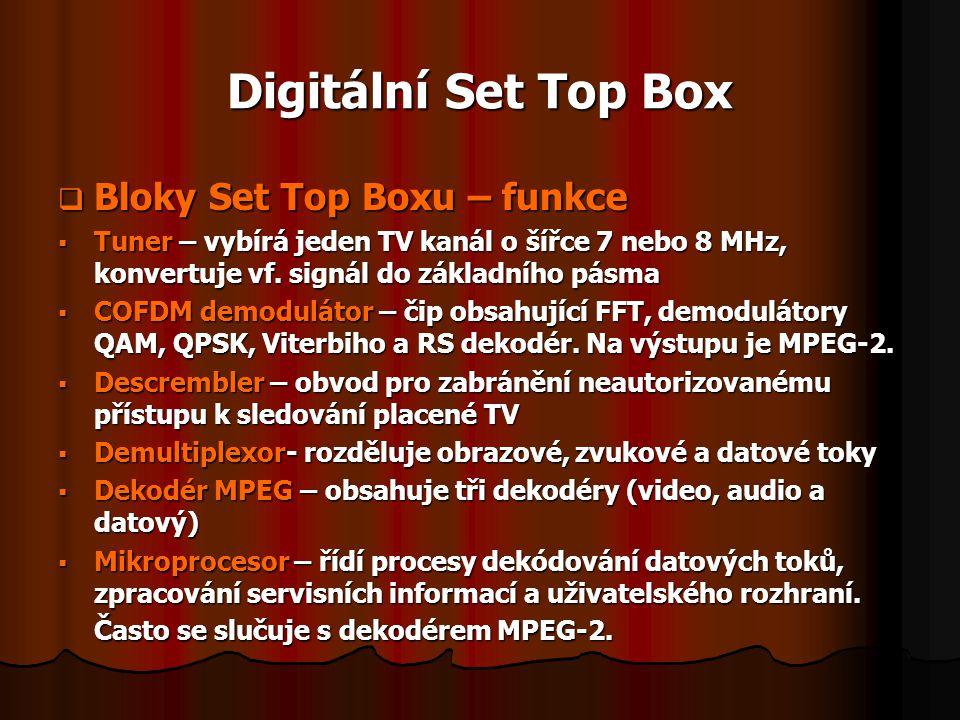 Digitální Set Top Box  Bloky Set Top Boxu – funkce  Tuner – vybírá jeden TV kanál o šířce 7 nebo 8 MHz, konvertuje vf. signál do základního pásma 
