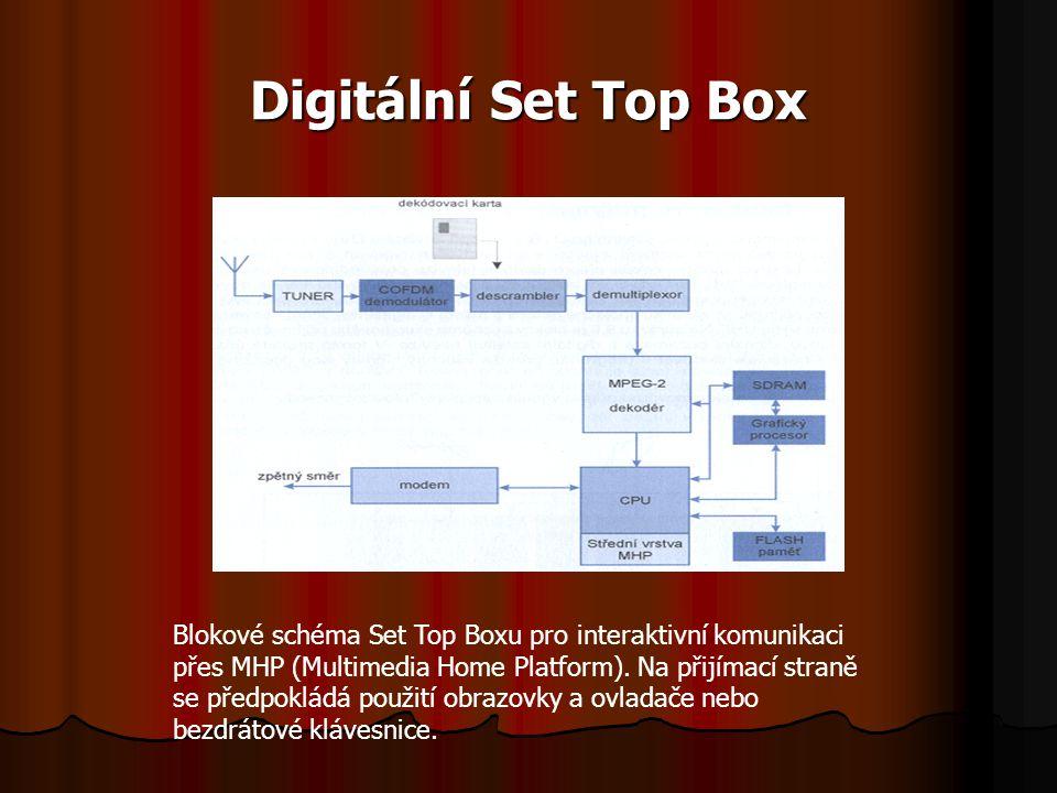 Digitální Set Top Box Blokové schéma Set Top Boxu pro interaktivní komunikaci přes MHP (Multimedia Home Platform). Na přijímací straně se předpokládá