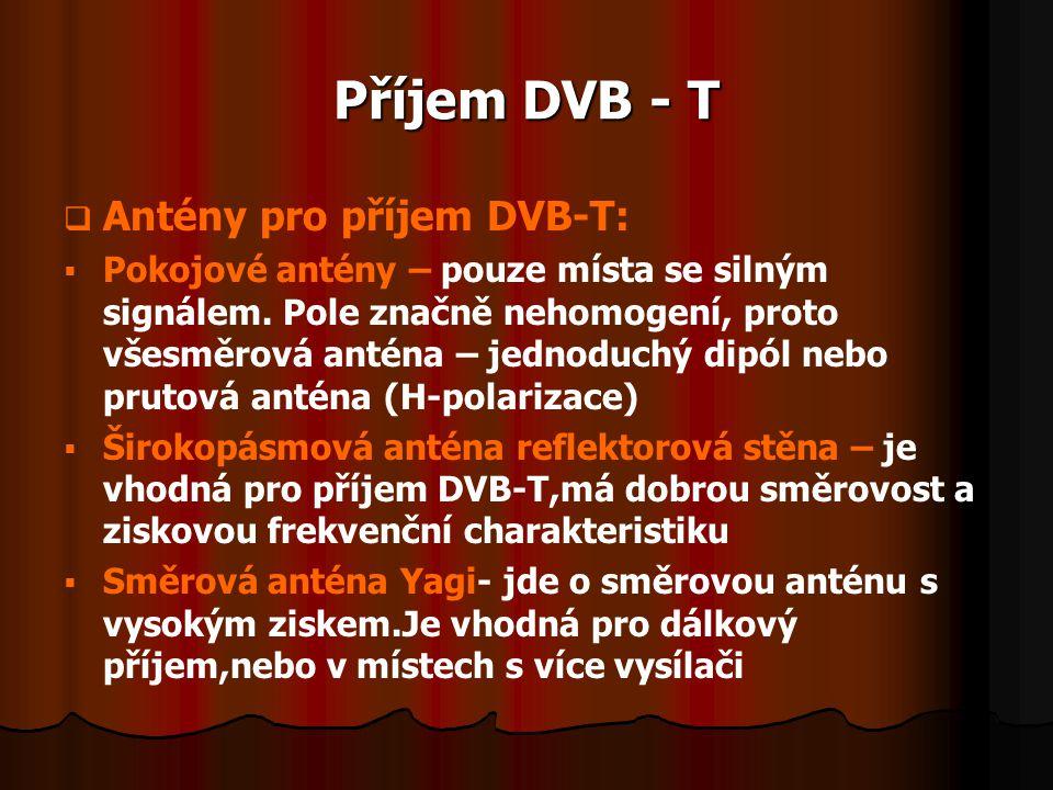 Příjem DVB - T   Antény pro příjem DVB-T:   Pokojové antény – pouze místa se silným signálem. Pole značně nehomogení, proto všesměrová anténa – je