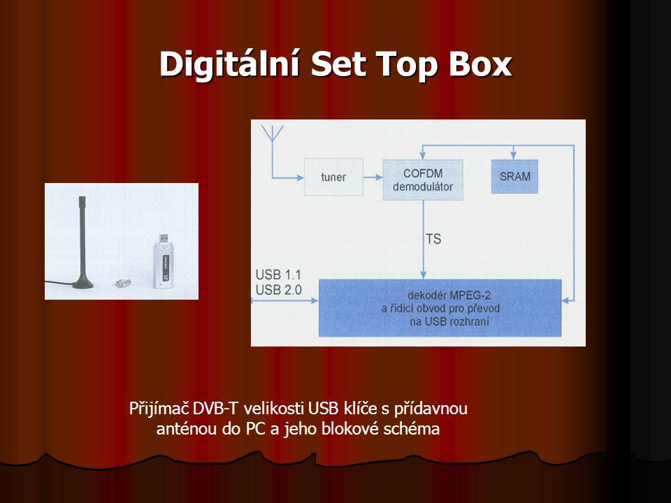 Digitální Set Top Box Přijímač DVB-T velikosti USB klíče s přídavnou anténou do PC a jeho blokové schéma