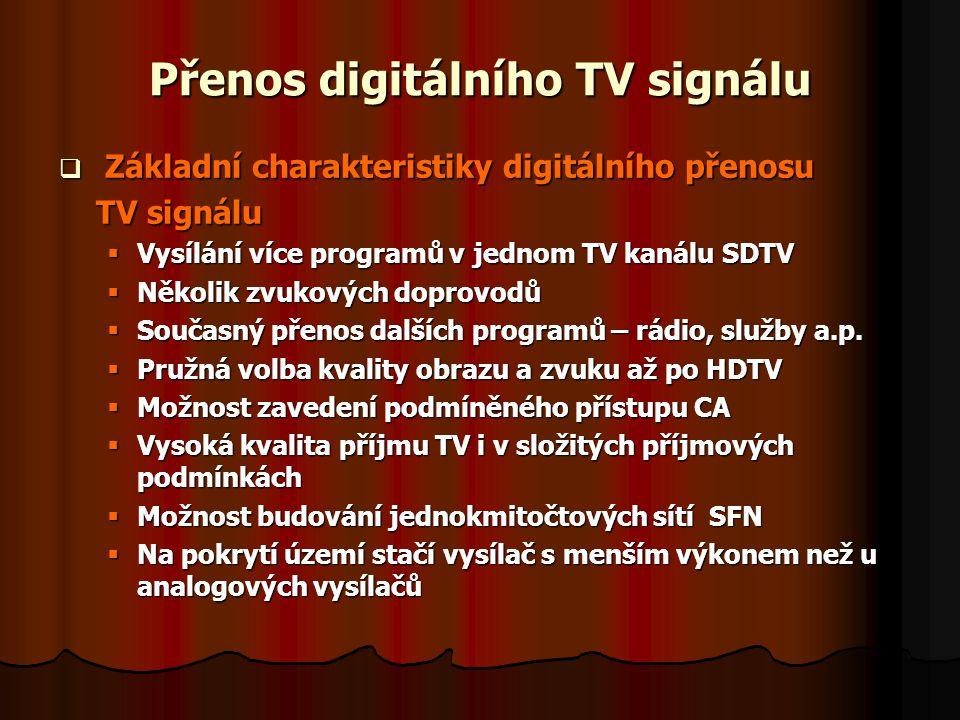 Přenos digitálního TV signálu  Výhody digitálního TV příjmu  Zvýšení počtu programů  Zvýšení kvality TV programů  Možnost poskytování doplňkových služeb  Možnost vnitřního přenosného příjmu  Ušetření nákladů za vysílání  Optimální vzužití kmitočtového spektra s SFN  Nevýhody digitálního TV příjmu  Nutnost investice do set-top boxů ( STB) a přestavbu společných TV antén (STA)  Nutnost investice do vybavení TV studií a TV sítí  Při příjmu nekvalitního signálu dochází k mrznutí, kostičkování a příp.