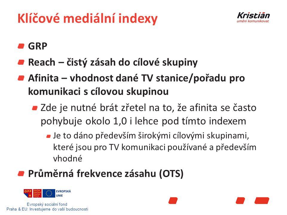 Evropský sociální fond Praha & EU: Investujeme do vaší budoucnosti Klíčové mediální indexy GRP Reach – čistý zásah do cílové skupiny Afinita – vhodnost dané TV stanice/pořadu pro komunikaci s cílovou skupinou Zde je nutné brát zřetel na to, že afinita se často pohybuje okolo 1,0 i lehce pod tímto indexem Je to dáno především širokými cílovými skupinami, které jsou pro TV komunikaci používané a především vhodné Průměrná frekvence zásahu (OTS)