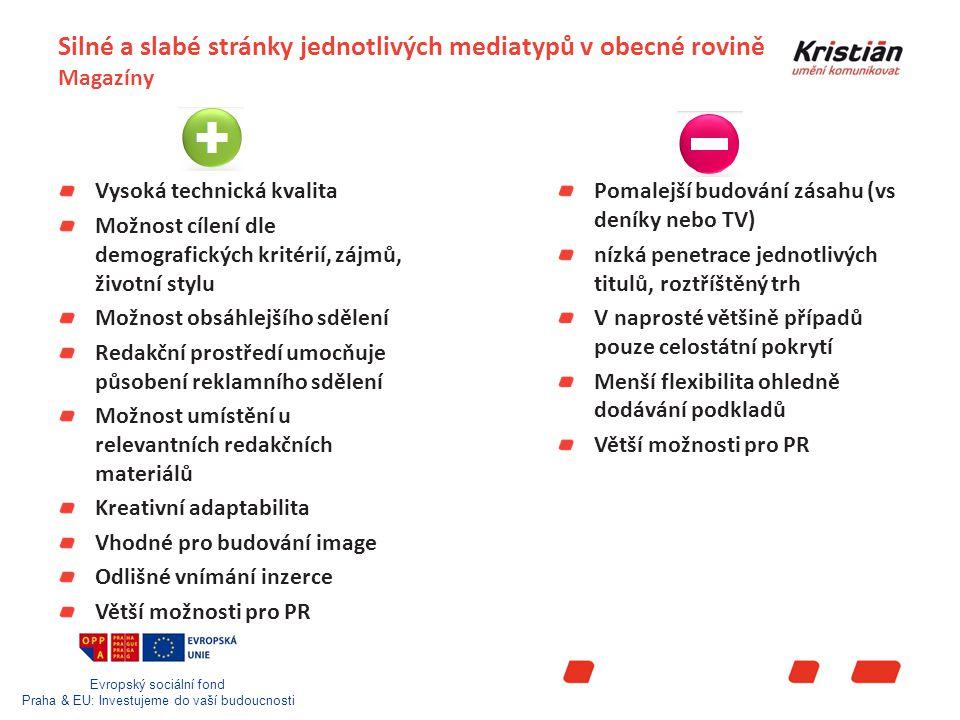 Evropský sociální fond Praha & EU: Investujeme do vaší budoucnosti Silné a slabé stránky jednotlivých mediatypů v obecné rovině Magazíny Vysoká technická kvalita Možnost cílení dle demografických kritérií, zájmů, životní stylu Možnost obsáhlejšího sdělení Redakční prostředí umocňuje působení reklamního sdělení Možnost umístění u relevantních redakčních materiálů Kreativní adaptabilita Vhodné pro budování image Odlišné vnímání inzerce Větší možnosti pro PR Pomalejší budování zásahu (vs deníky nebo TV) nízká penetrace jednotlivých titulů, roztříštěný trh V naprosté většině případů pouze celostátní pokrytí Menší flexibilita ohledně dodávání podkladů Větší možnosti pro PR