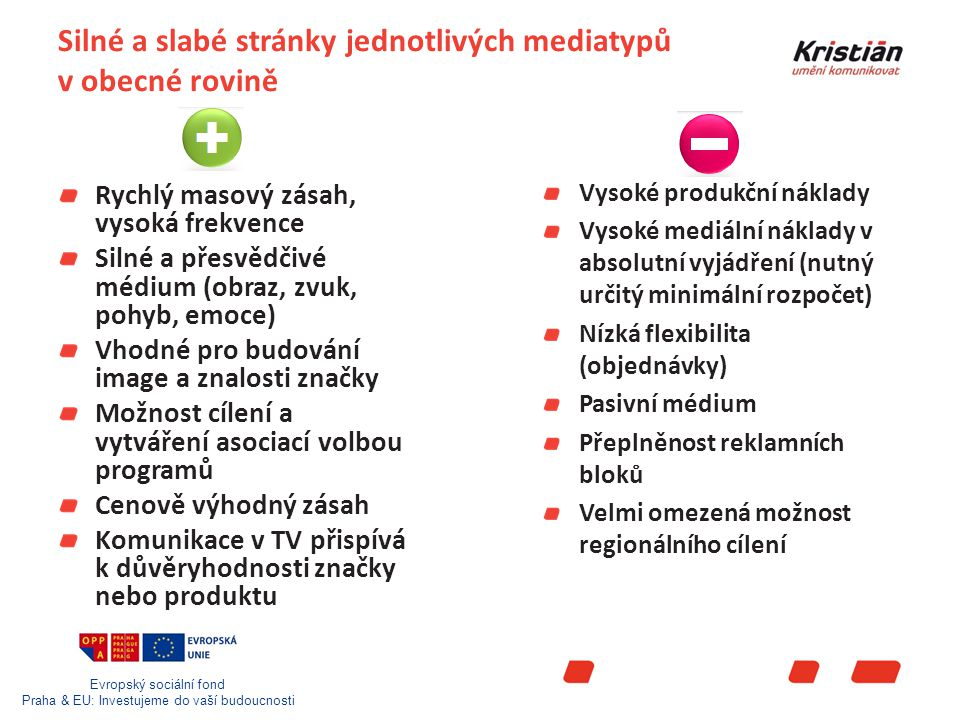 Evropský sociální fond Praha & EU: Investujeme do vaší budoucnosti Silné a slabé stránky jednotlivých mediatypů v obecné rovině Rychlý masový zásah, vysoká frekvence Silné a přesvědčivé médium (obraz, zvuk, pohyb, emoce) Vhodné pro budování image a znalosti značky Možnost cílení a vytváření asociací volbou programů Cenově výhodný zásah Komunikace v TV přispívá k důvěryhodnosti značky nebo produktu Vysoké produkční náklady Vysoké mediální náklady v absolutní vyjádření (nutný určitý minimální rozpočet) Nízká flexibilita (objednávky) Pasivní médium Přeplněnost reklamních bloků Velmi omezená možnost regionálního cílení