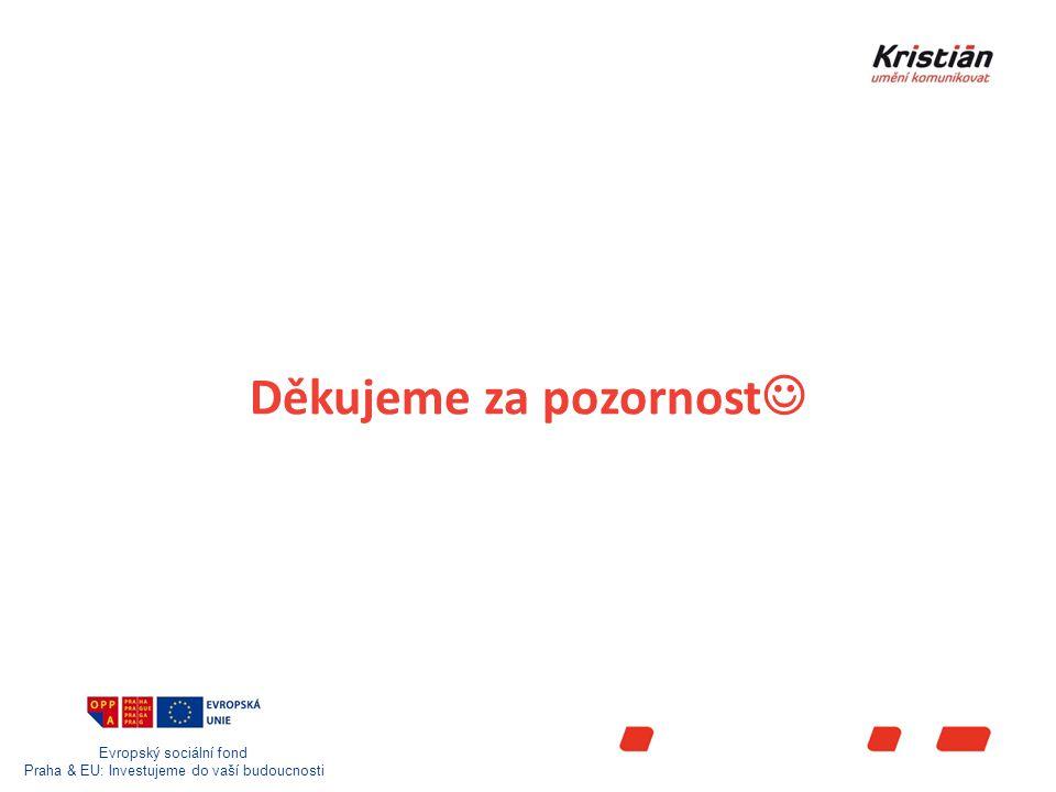 Evropský sociální fond Praha & EU: Investujeme do vaší budoucnosti Děkujeme za pozornost