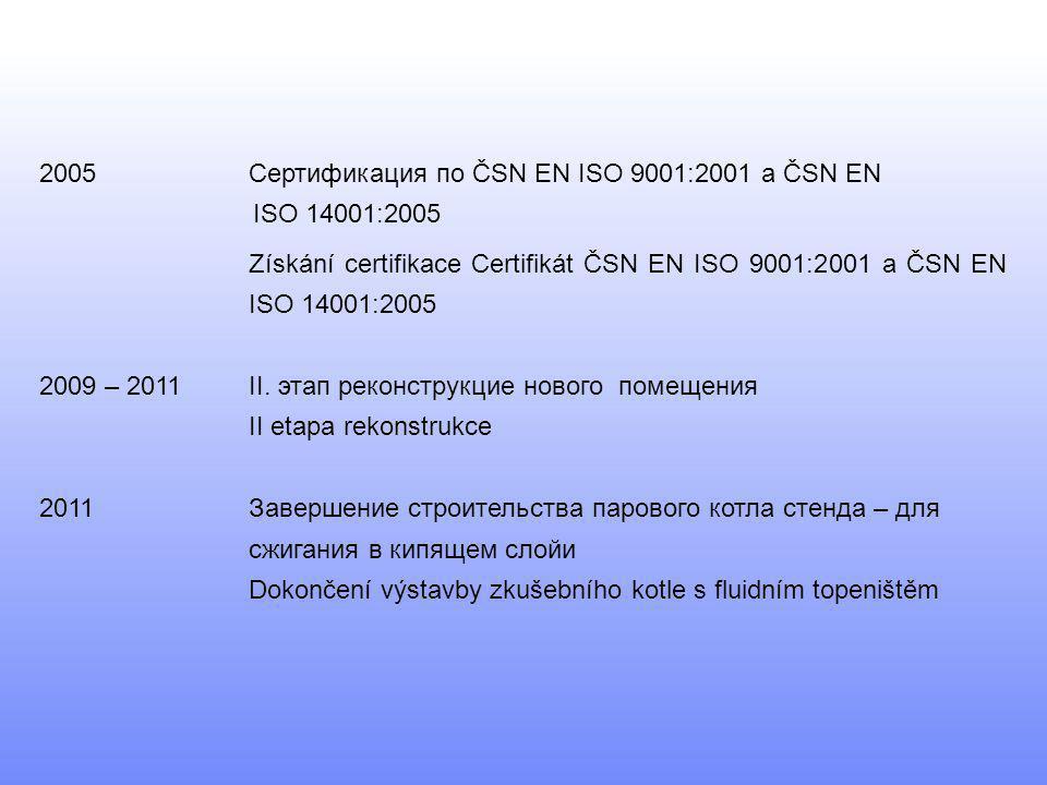 2005Сертификация по ČSN EN ISO 9001:2001 a ČSN EN ISO 14001:2005 Získání certifikace Certifikát ČSN EN ISO 9001:2001 a ČSN EN ISO 14001:2005 2009 – 20