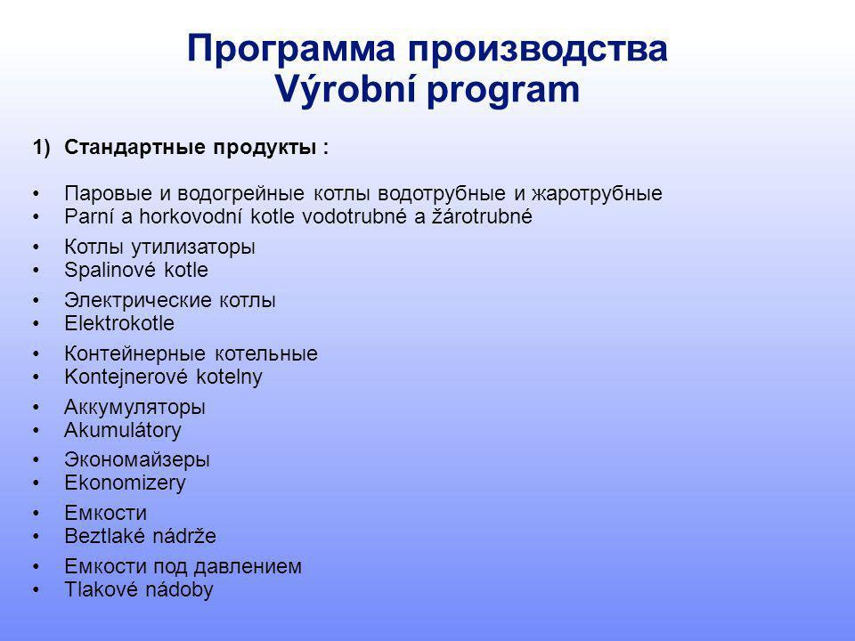 Программа производства Výrobní program 1)Стандартные продукты : Паровые и водогрейные котлы водотрубные и жаротрубные Parní a horkovodní kotle vodotru