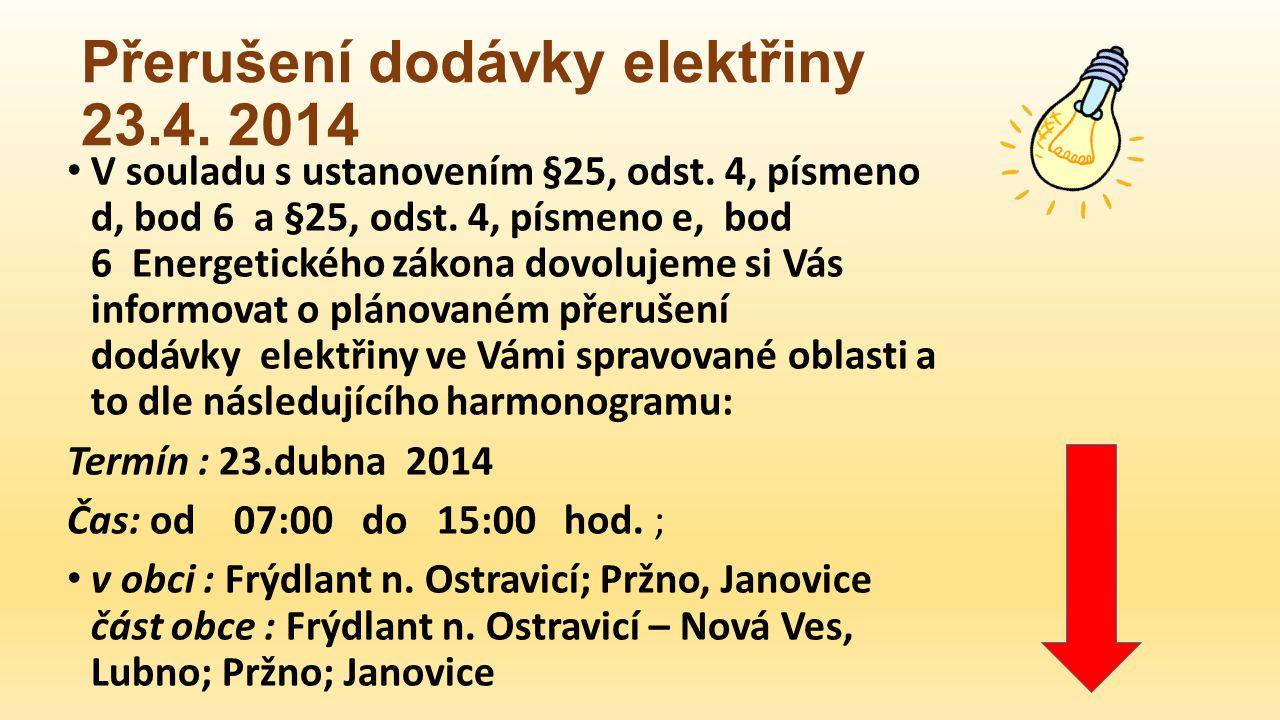 Přerušení dodávky elektřiny 23.4. 2014 V souladu s ustanovením §25, odst.