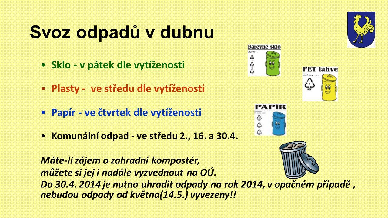 Svoz odpadů v dubnu Sklo - v pátek dle vytíženosti Plasty - ve středu dle vytíženosti Papír - ve čtvrtek dle vytíženosti Komunální odpad - ve středu 2., 16.