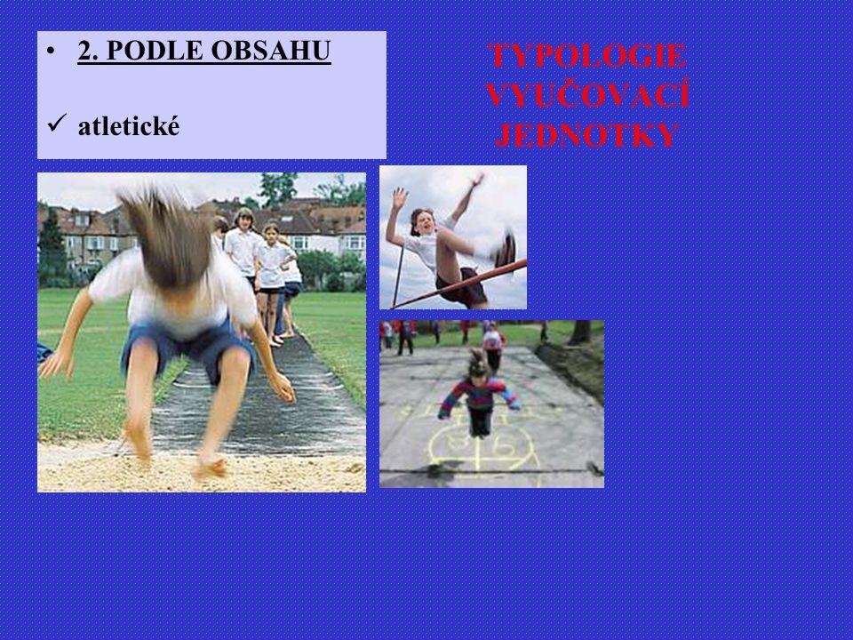TYPOLOGIE VYUČOVACÍ JEDNOTKY 2. PODLE OBSAHU atletické