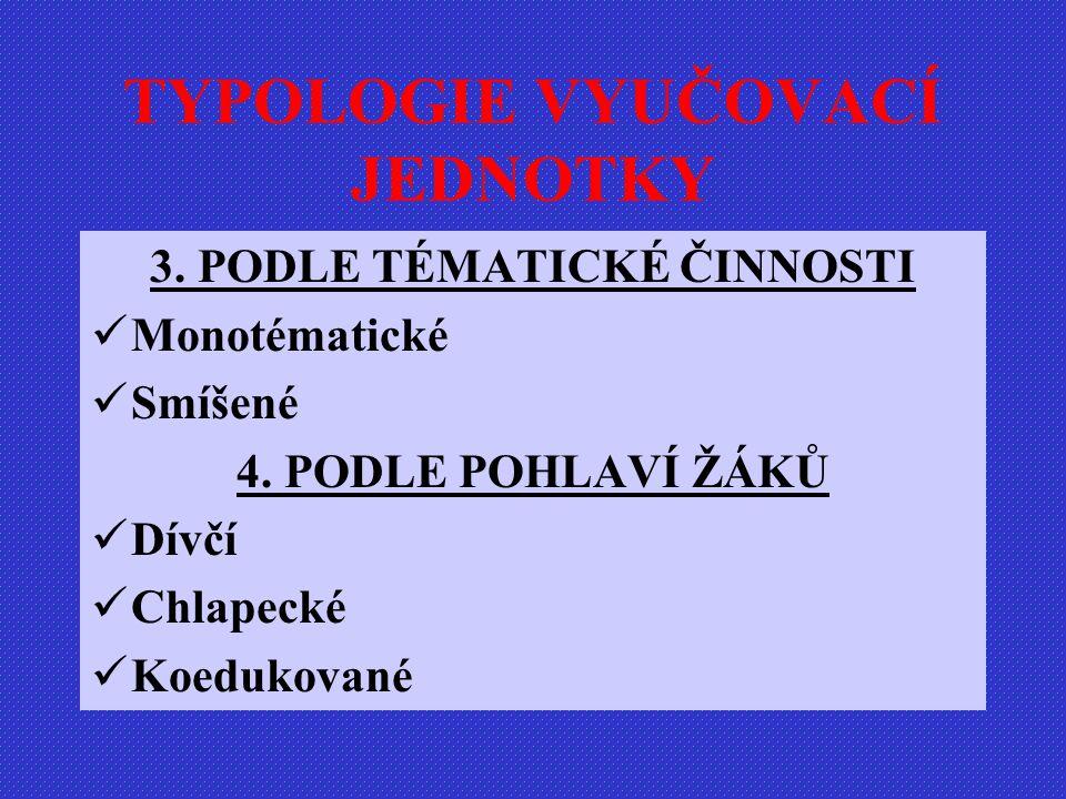 TYPOLOGIE VYUČOVACÍ JEDNOTKY 3.PODLE TÉMATICKÉ ČINNOSTI Monotématické Smíšené 4.