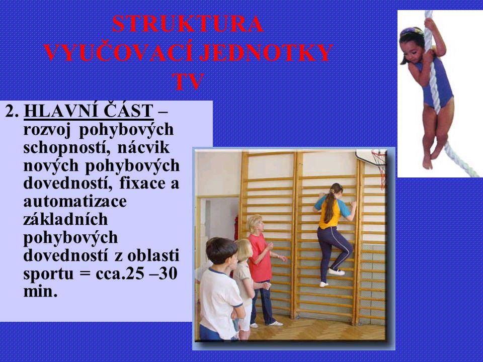 2. HLAVNÍ ČÁST – rozvoj pohybových schopností, nácvik nových pohybových dovedností, fixace a automatizace základních pohybových dovedností z oblasti s