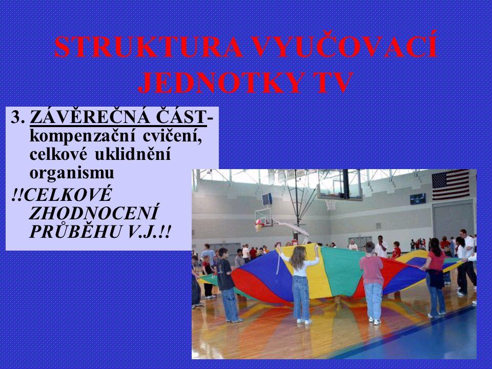 3. ZÁVĚREČNÁ ČÁST- kompenzační cvičení, celkové uklidnění organismu !!CELKOVÉ ZHODNOCENÍ PRŮBĚHU V.J.!! STRUKTURA VYUČOVACÍ JEDNOTKY TV