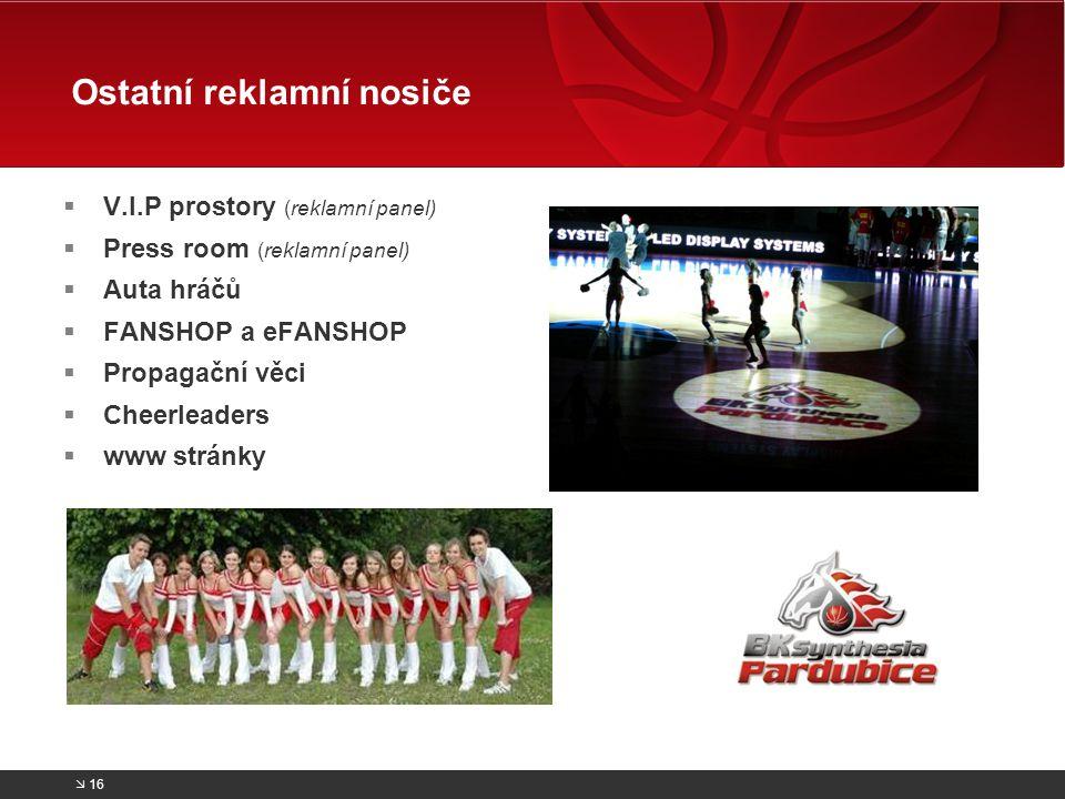  V.I.P prostory (reklamní panel)  Press room (reklamní panel)  Auta hráčů  FANSHOP a eFANSHOP  Propagační věci  Cheerleaders  www stránky Ostat