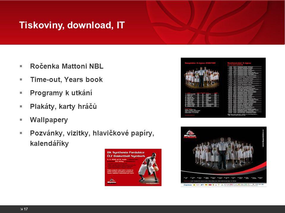  Ročenka Mattoni NBL  Time-out, Years book  Programy k utkání  Plakáty, karty hráčů  Wallpapery  Pozvánky, vizitky, hlavičkové papíry, kalendáří
