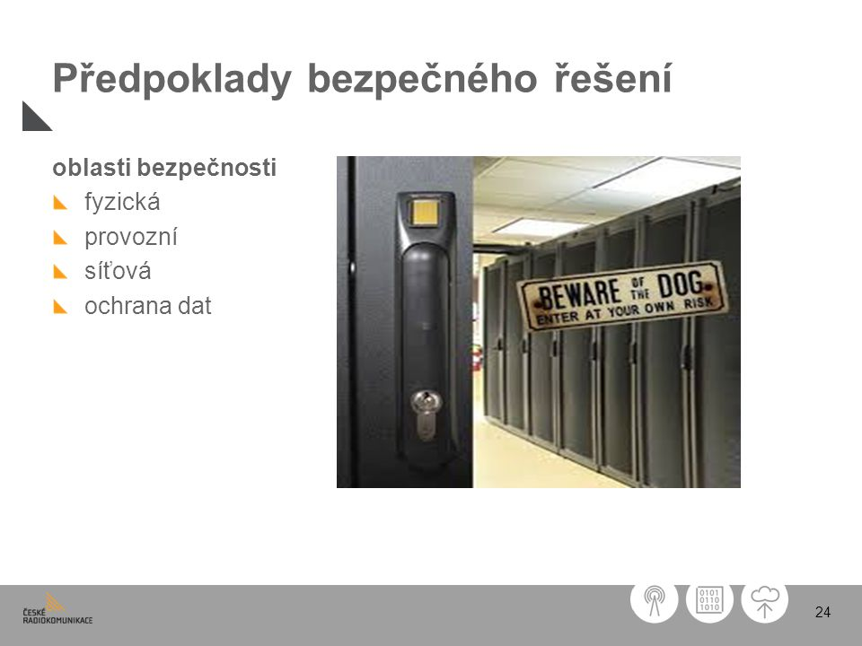 24 Předpoklady bezpečného řešení oblasti bezpečnosti fyzická provozní síťová ochrana dat