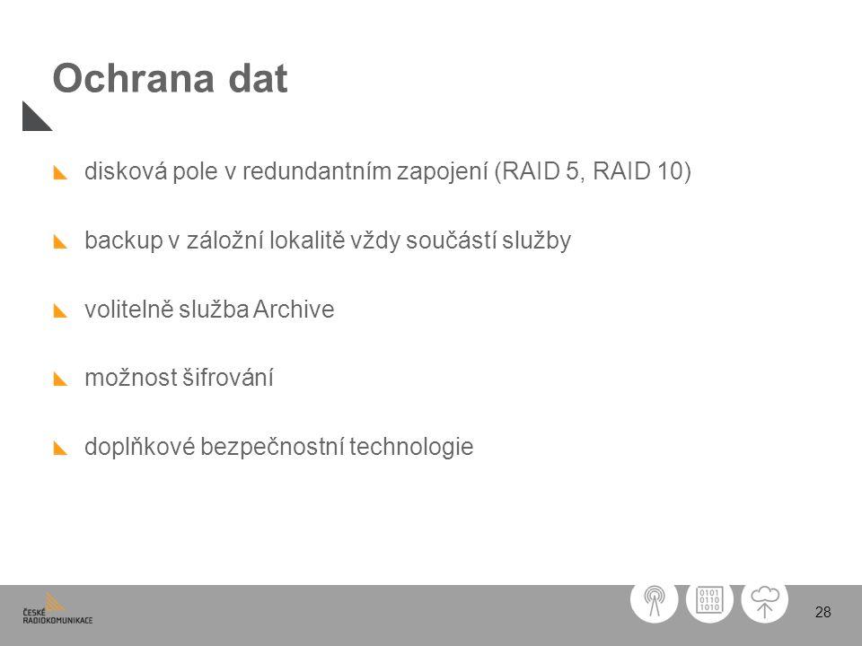 28 Ochrana dat disková pole v redundantním zapojení (RAID 5, RAID 10) backup v záložní lokalitě vždy součástí služby volitelně služba Archive možnost