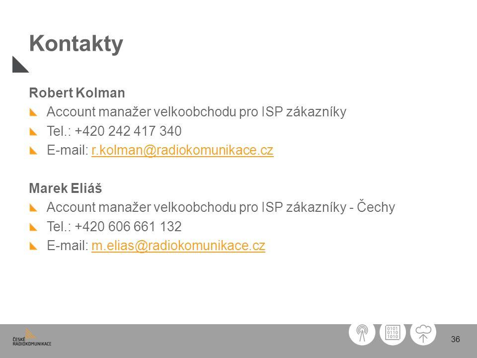 36 Kontakty Robert Kolman Account manažer velkoobchodu pro ISP zákazníky Tel.: +420 242 417 340 E-mail: r.kolman@radiokomunikace.czr.kolman@radiokomun