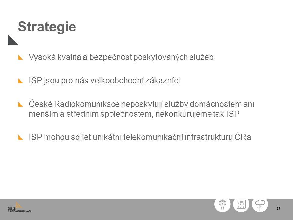 9 Strategie Vysoká kvalita a bezpečnost poskytovaných služeb ISP jsou pro nás velkoobchodní zákazníci České Radiokomunikace neposkytují služby domácno
