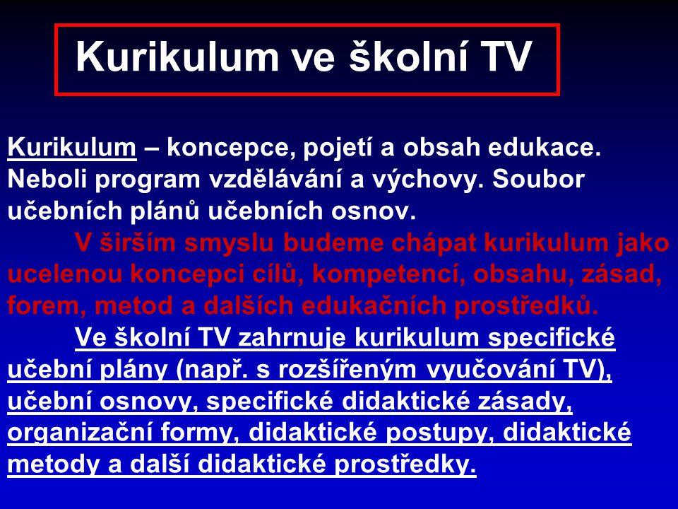 Kurikulum ve školní TV Kurikulum – koncepce, pojetí a obsah edukace. Neboli program vzdělávání a výchovy. Soubor učebních plánů učebních osnov. V širš