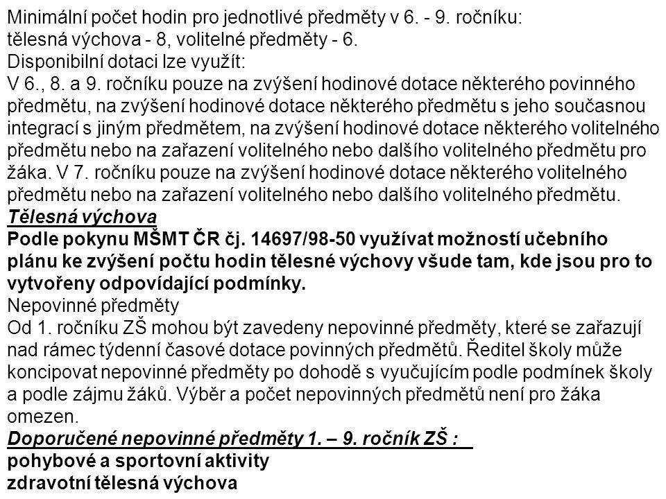 Minimální počet hodin pro jednotlivé předměty v 6. - 9. ročníku: tělesná výchova - 8, volitelné předměty - 6. Disponibilní dotaci lze využít: V 6., 8.
