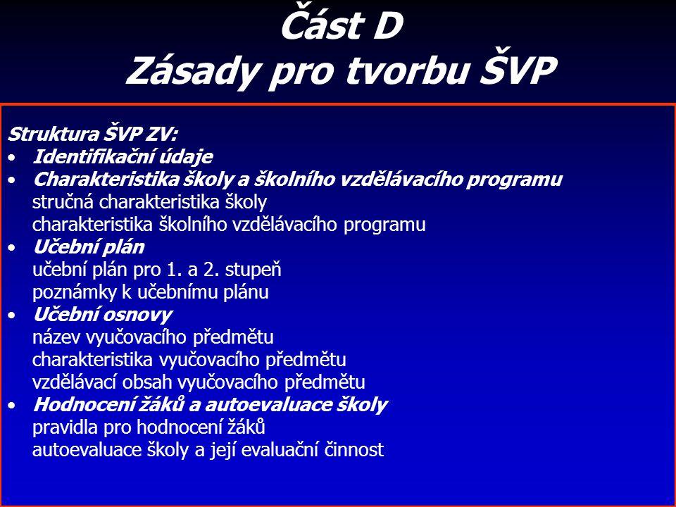 Část D Zásady pro tvorbu ŠVP Struktura ŠVP ZV: Identifikační údaje Charakteristika školy a školního vzdělávacího programu stručná charakteristika škol