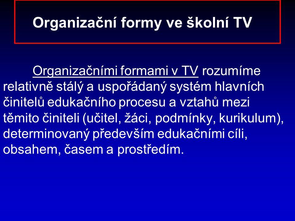 Organizační formy ve školní TV Organizačními formami v TV rozumíme relativně stálý a uspořádaný systém hlavních činitelů edukačního procesu a vztahů m