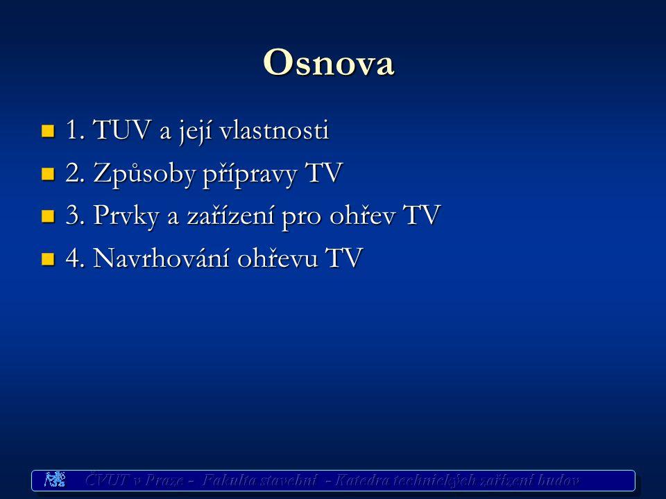 Příprava TV Potřeba TV Potřeba TV pro byt.fond ČSN 060320 ČSN 060320 77 l/os/den při 60°C (všední den) 77 l/os/den při 60°C (všední den) 103 l/os/den při 60°C (soboty a neděle) 103 l/os/den při 60°C (soboty a neděle) tj.