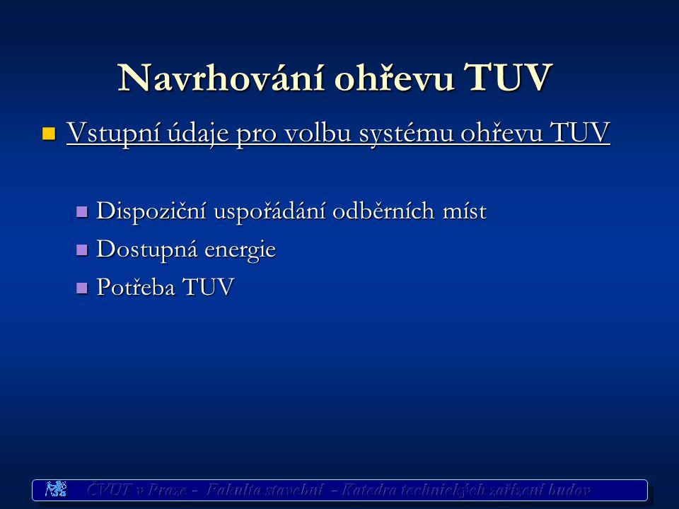 Příprava TUV Systémy Dle místa ohřevu Dle místa ohřevu místní místní ústřední ústřední dálkový dálkový Dle způsobu ohřevu průtokový zásobníkový smíšen