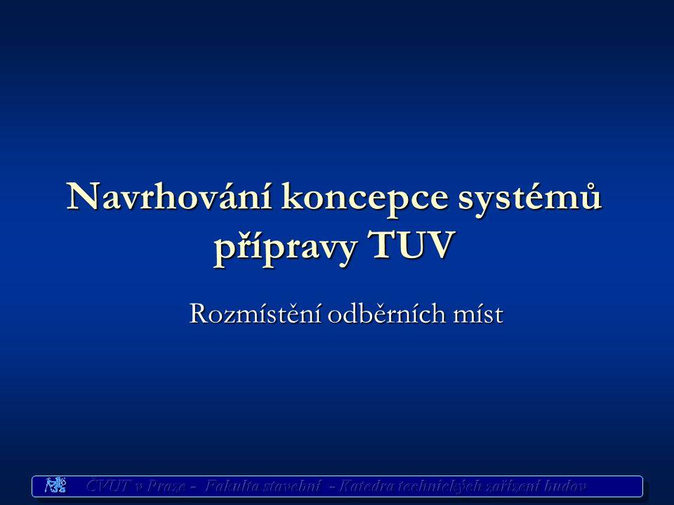 Navrhování ohřevu TUV Vstupní údaje pro volbu systému ohřevu TUV Vstupní údaje pro volbu systému ohřevu TUV Dispoziční uspořádání odběrních míst Dispo