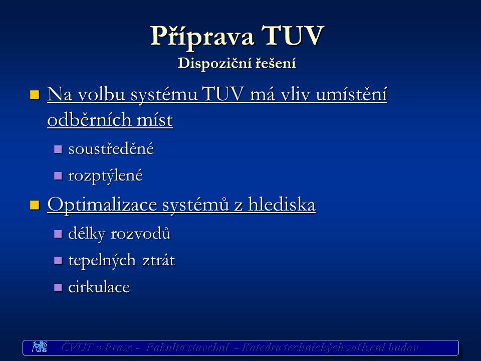 Navrhování koncepce systémů přípravy TUV Rozmístění odběrních míst