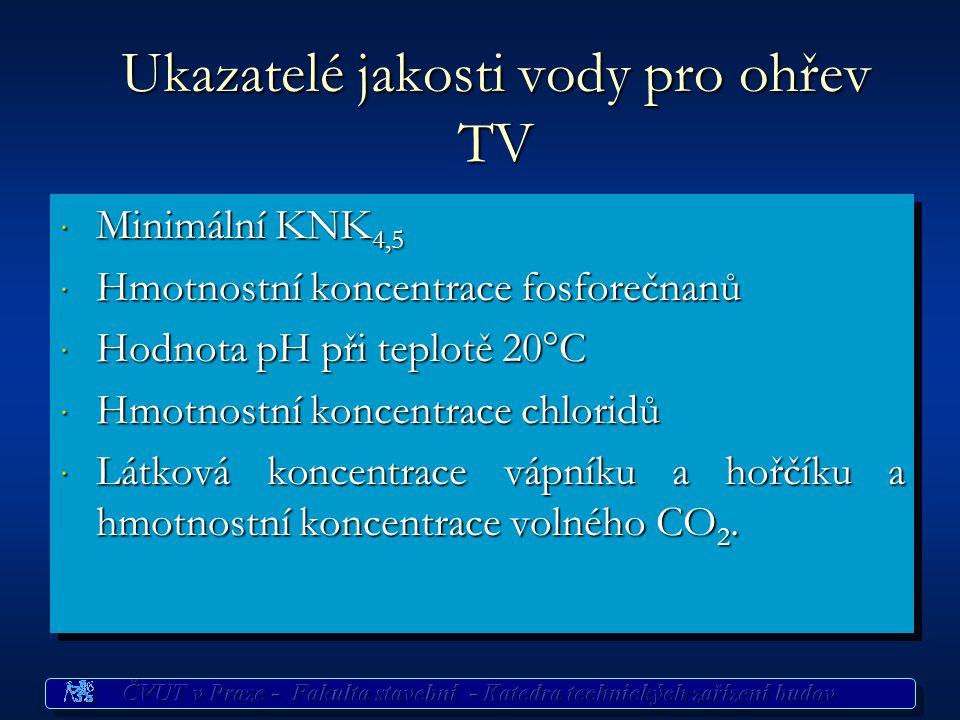 Ukazatelé jakosti vody pro ohřev TV · Minimální KNK 4,5 · Hmotnostní koncentrace fosforečnanů · Hodnota pH při teplotě 20°C · Hmotnostní koncentrace chloridů · Látková koncentrace vápníku a hořčíku a hmotnostní koncentrace volného CO 2.