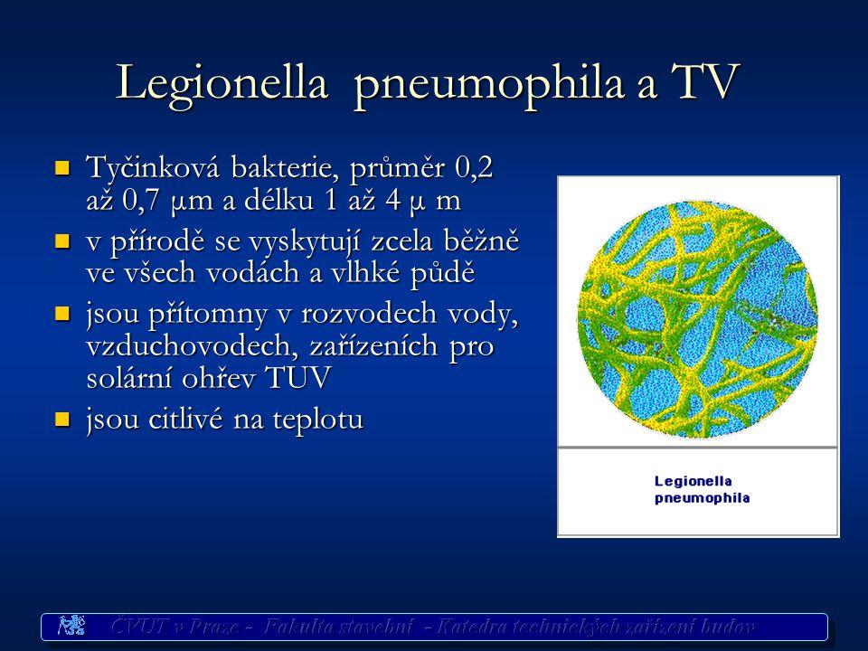 Legionella pneumophila a TV Tyčinková bakterie, průměr 0,2 až 0,7 μm a délku 1 až 4 μ m Tyčinková bakterie, průměr 0,2 až 0,7 μm a délku 1 až 4 μ m v přírodě se vyskytují zcela běžně ve všech vodách a vlhké půdě v přírodě se vyskytují zcela běžně ve všech vodách a vlhké půdě jsou přítomny v rozvodech vody, vzduchovodech, zařízeních pro solární ohřev TUV jsou přítomny v rozvodech vody, vzduchovodech, zařízeních pro solární ohřev TUV jsou citlivé na teplotu jsou citlivé na teplotu