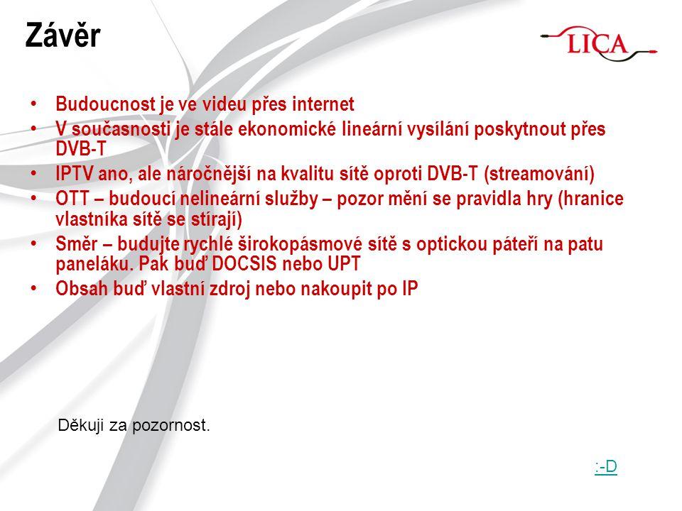 Závěr Budoucnost je ve videu přes internet V současnosti je stále ekonomické lineární vysílání poskytnout přes DVB-T IPTV ano, ale náročnější na kvali