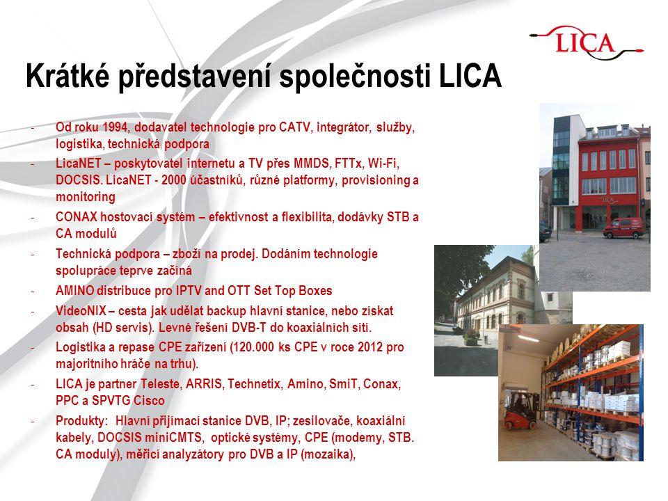 Krátké představení společnosti LICA - Od roku 1994, dodavatel technologie pro CATV, integrátor, služby, logistika, technická podpora - LicaNET – posky