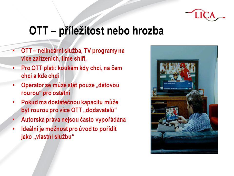 OTT – příležitost nebo hrozba OTT – nelineární služba, TV programy na více zařízeních, time shift, Pro OTT platí: koukám kdy chci, na čem chci a kde c