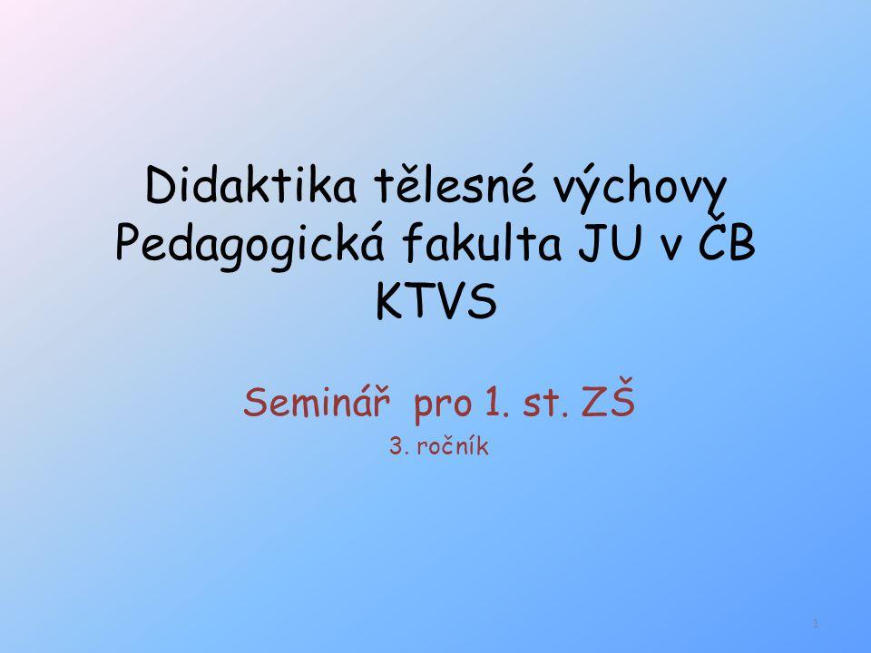 Didaktika tělesné výchovy Pedagogická fakulta JU v ČB KTVS Seminář pro 1. st. ZŠ 3. ročník 1
