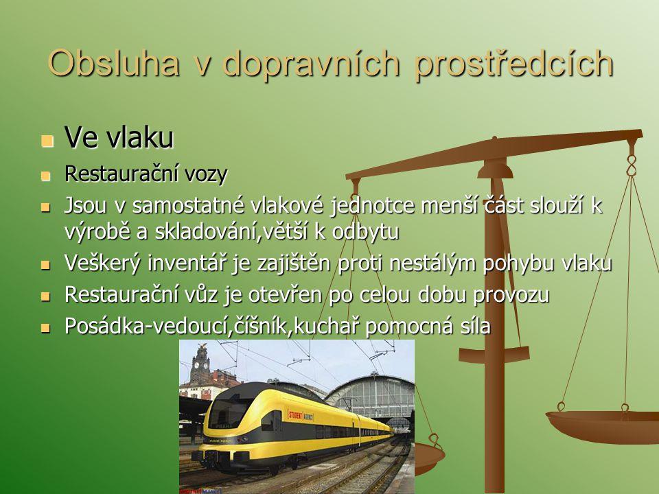 Obsluha v dopravních prostředcích Ve vlaku Ve vlaku Restaurační vozy Restaurační vozy Jsou v samostatné vlakové jednotce menší část slouží k výrobě a